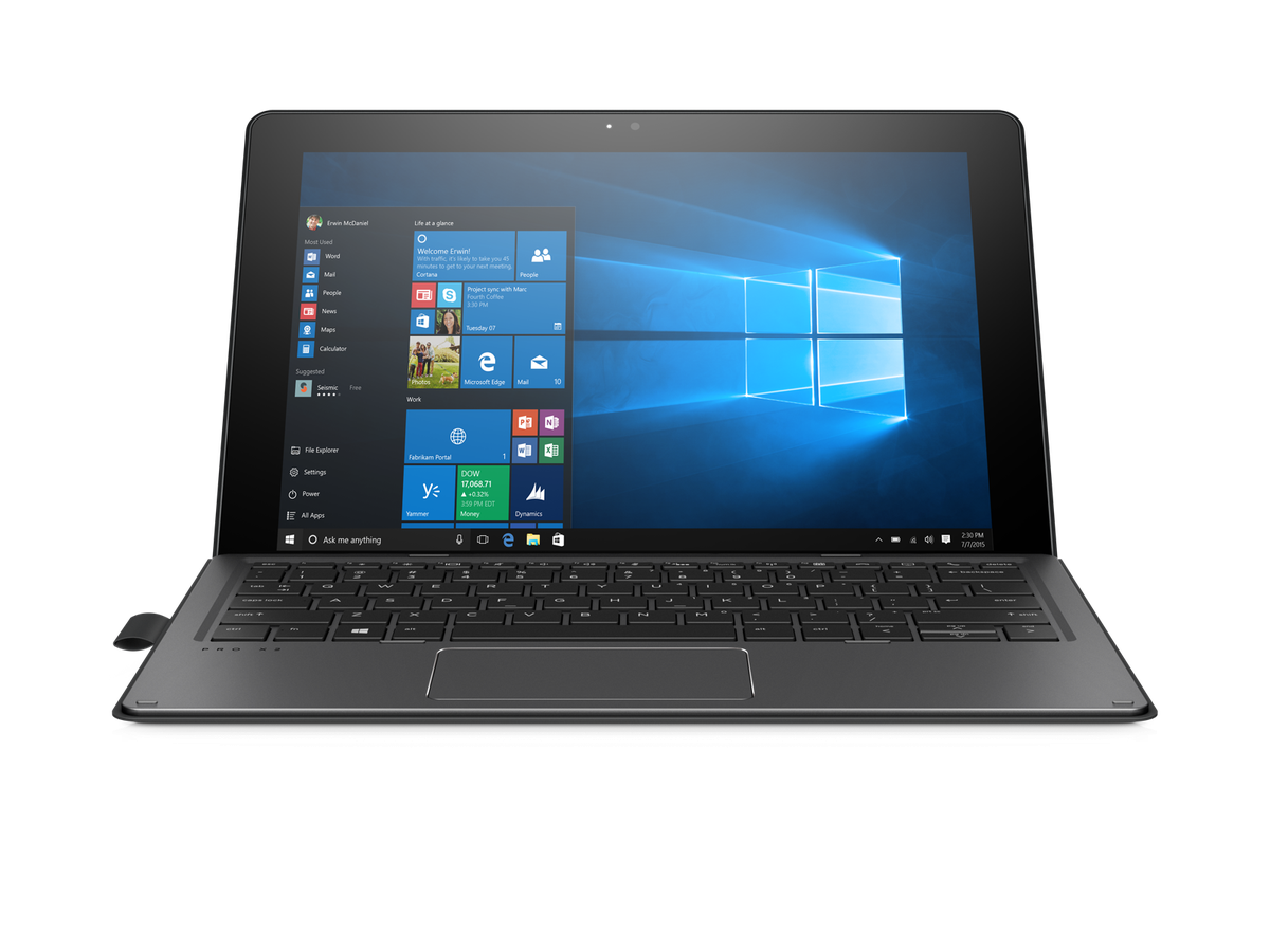 From the front, this looks just like a Windows 10 laptop.