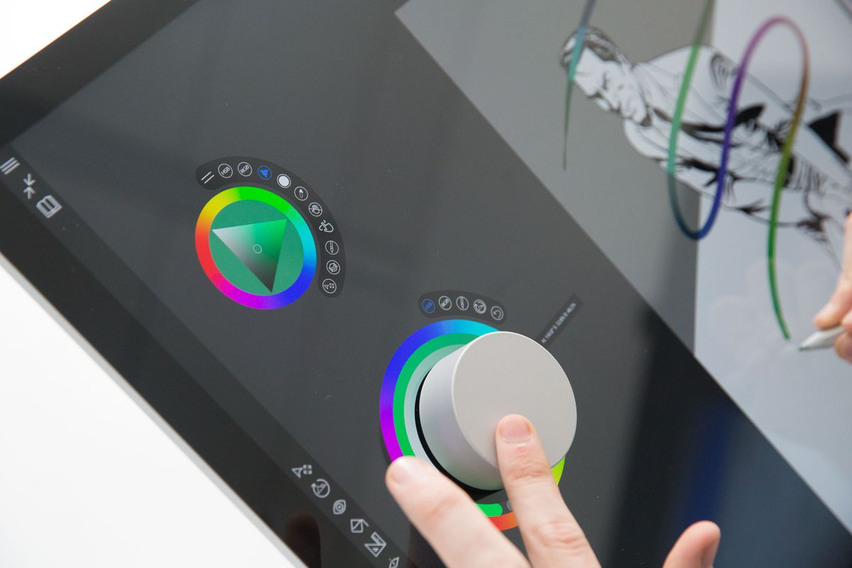The Surface Dial lets you change the color of your brushstroke on the fly.