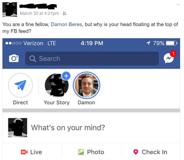 An older friend of mine was a bit confused by the Stories feature.