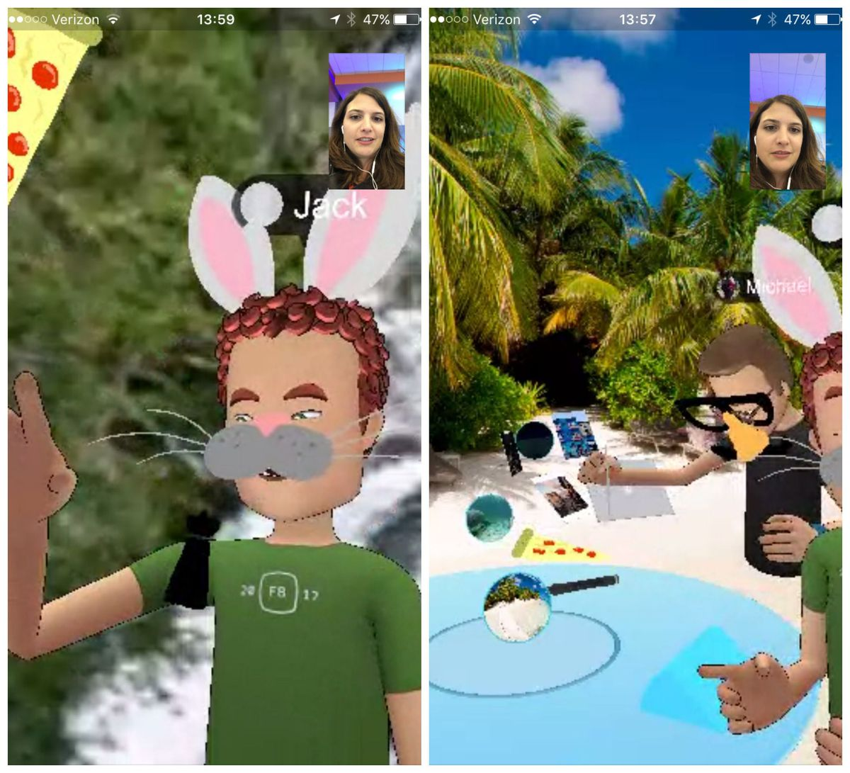 A screenshot of a Messenger call in Facebook Spaces with my colleague Jack Morse.