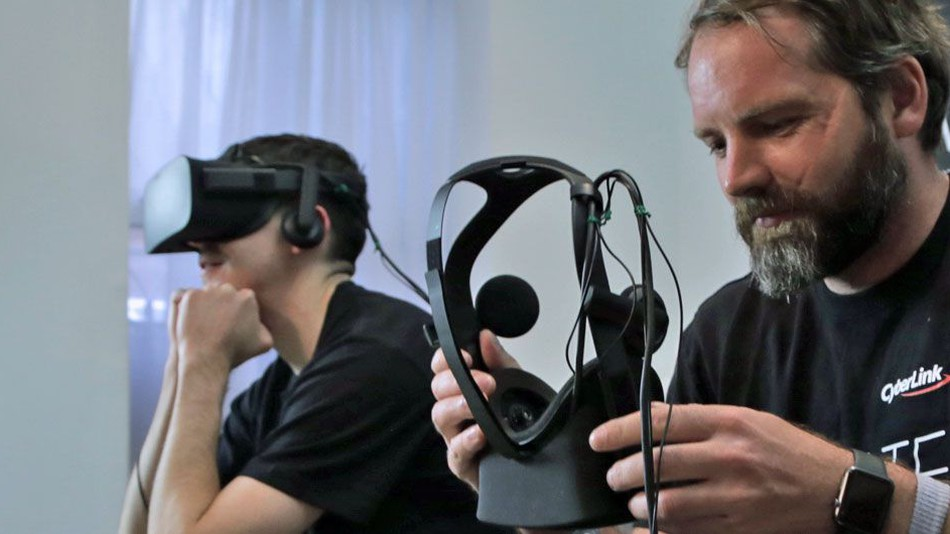 VR binge-watchers jacked in via the Oculus Rift headset.