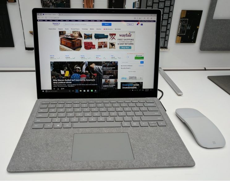 A platinum-colored Microsoft Surface Laptop.