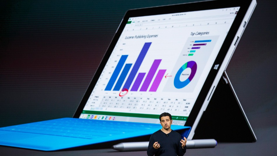 NEW YORK, NY - OCTOBER 06 2015: Microsoft Corporate Vice President Panos Panay introduces a new tablet titled the Microsoft Surface Pro 4