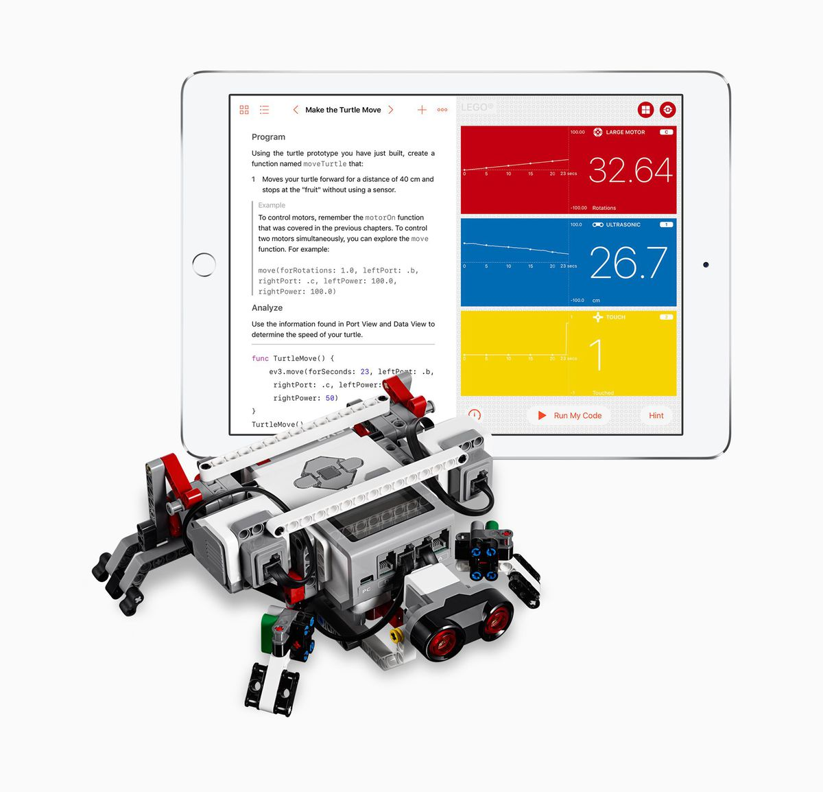 A LEGO Mindstorms EV3 robot with the Swift Playgrounds programming interface.