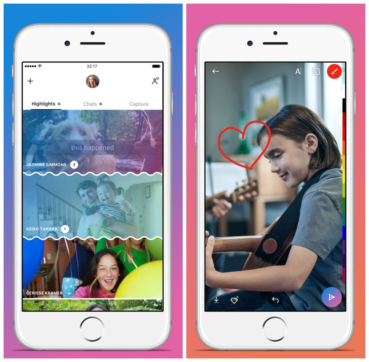 Skype's new Snapchat-like photo sharing features.