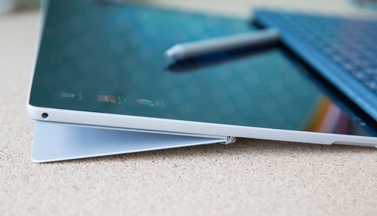 "The new Microsoft Surface Pro has an improved hinge capable of ""studio"" mode, which puts the screen almost flat."