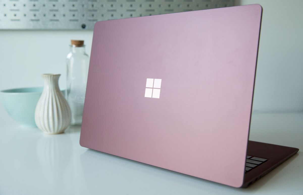 The new Microsoft Surface Laptop, in burgundy.