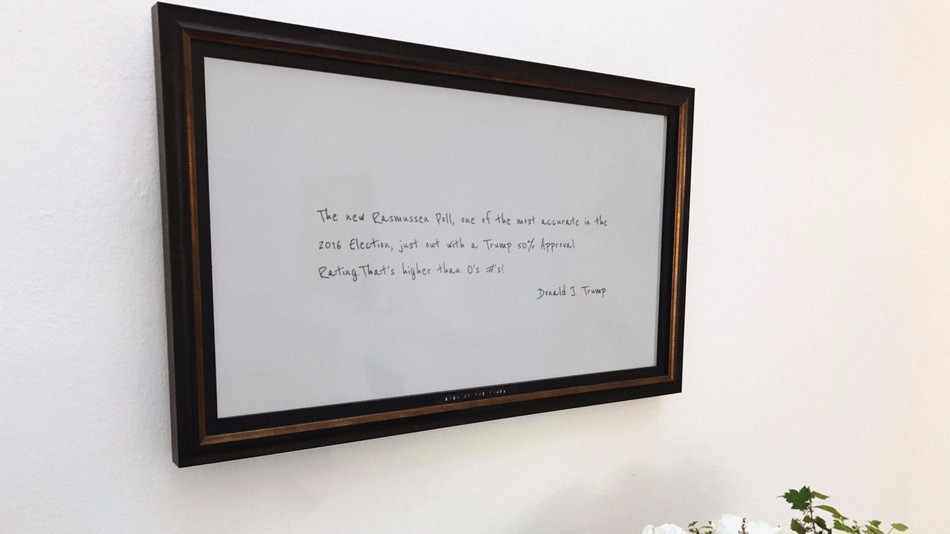 Someone actually created a live feed of Trump's tweets as artwork for his living room