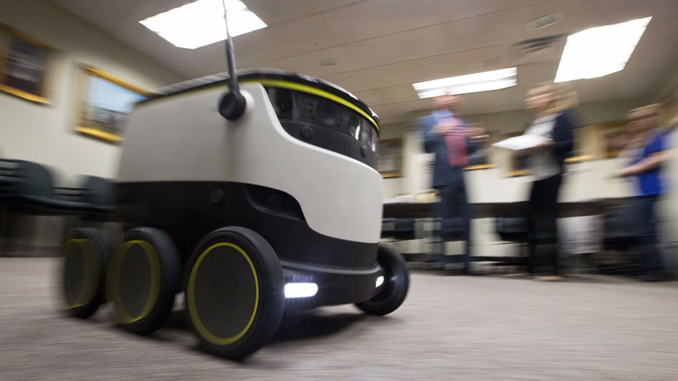 The Starship Technologies delivery robot goes through its paces during a demonstration at the Capitol in Richmond, Va.