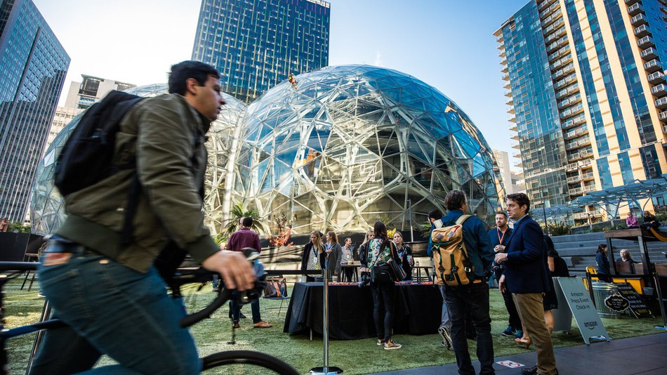 The Spheres outside Amazon's Day 1 building