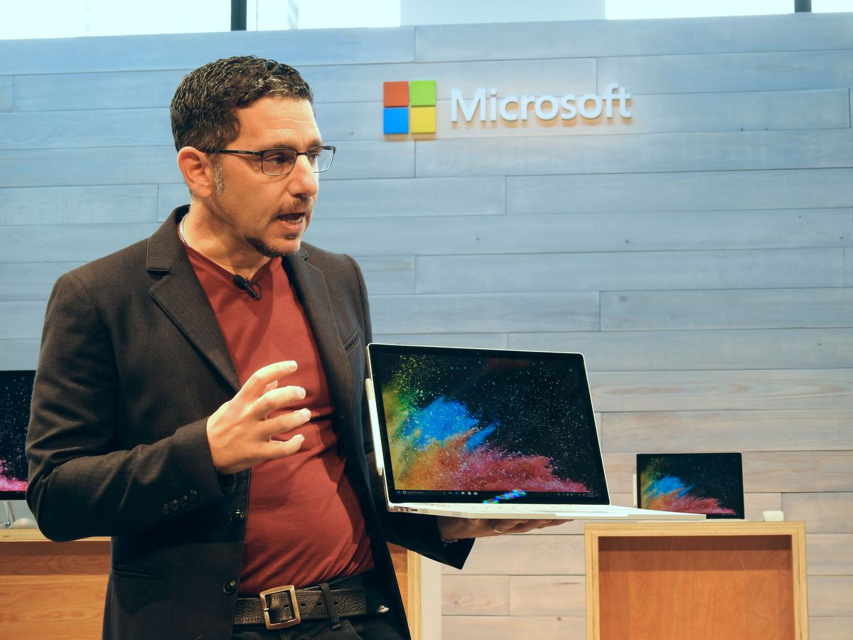 Microsoft Corporate Vice President of Devices Panos Panay unveils the new Surface Book 2.