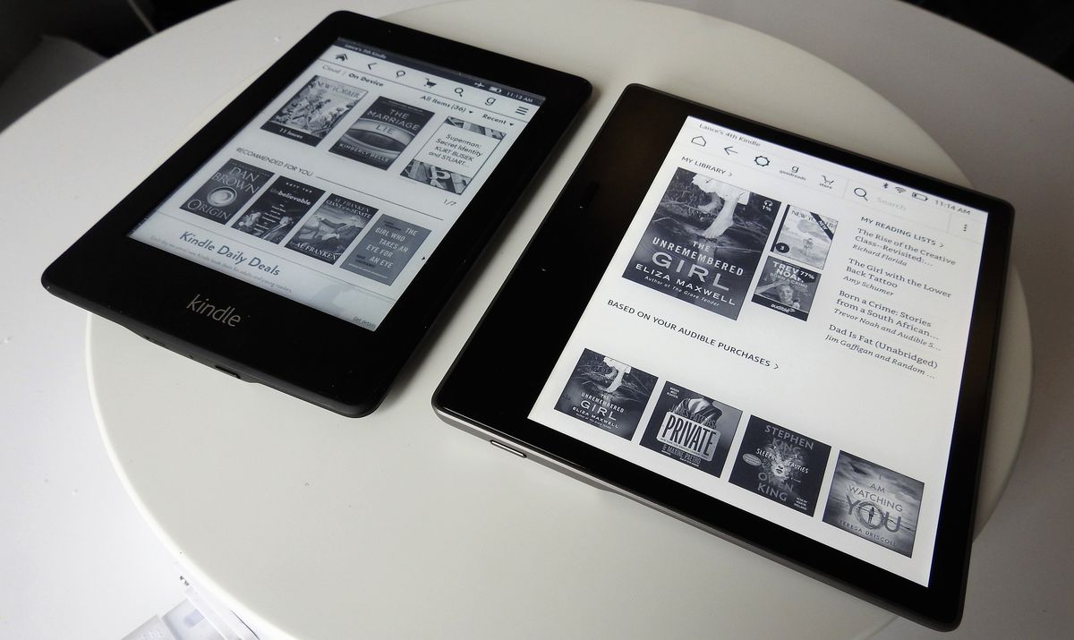 Get ready for a big-screen reading experience. The 6-inch Paperwhite is on the left and the 7-inch Kindle Oasis is on the right.