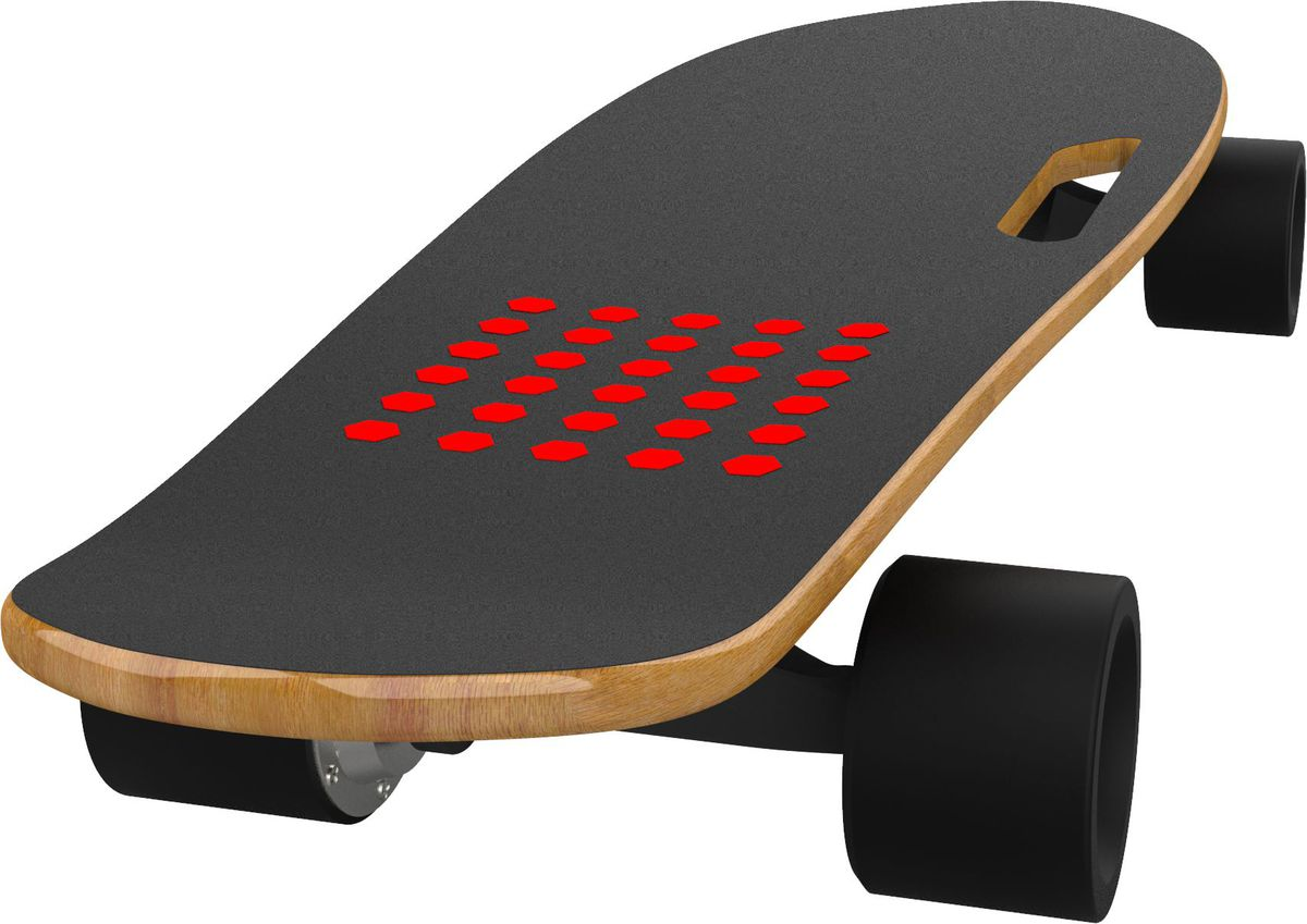 The foot sensor is demarcated by a patch of red dots.