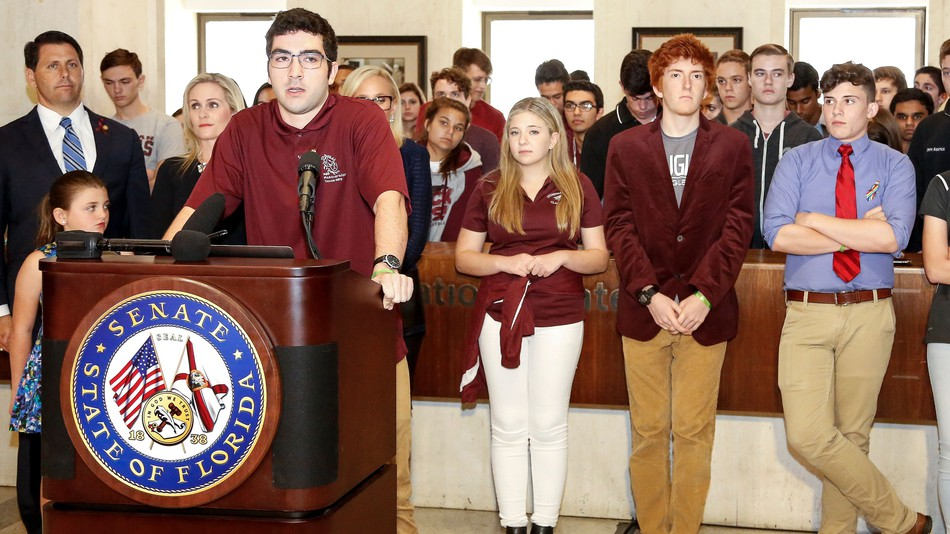 Lorenzo Prado, a student from Marjory Stoneman Douglas High School, speaks at the Florida State Capitol building on February 21, 2018 in Tallahassee, Florida.