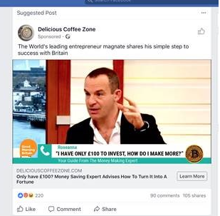 Examples of the ads shown on Facebook.