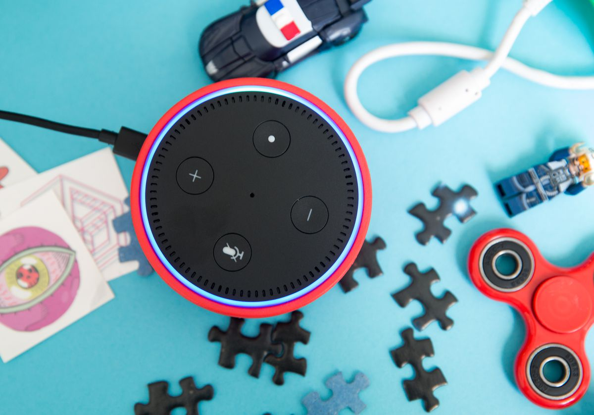 The Amazon Echo Dot Kids Edition comes with colorful rubber covers that include green, red, and blue.