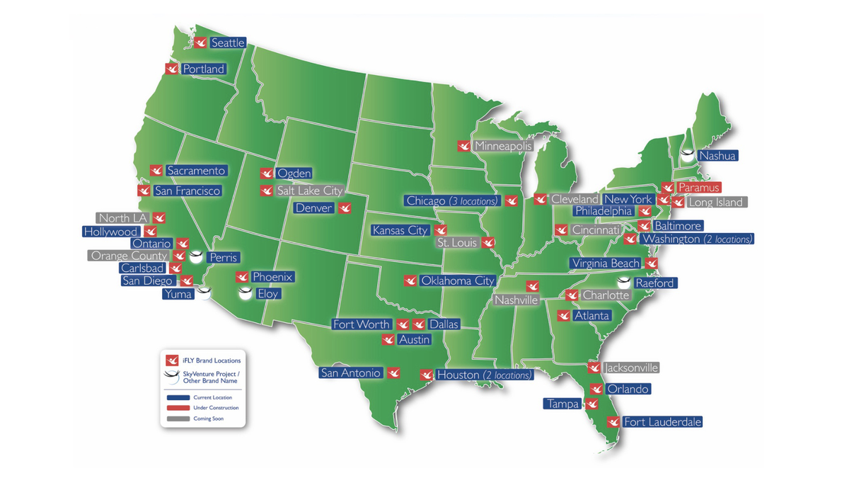 There are dozens of sites offering iFly across the U.S.