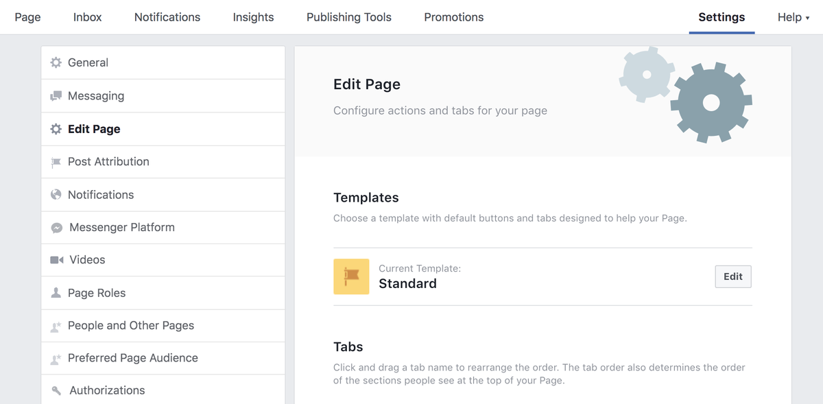This is where you edit your Facebook Page template.
