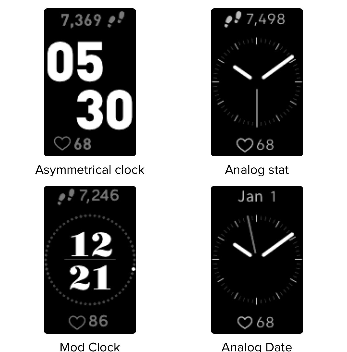 A few of the available watch faces for the Charge 3.