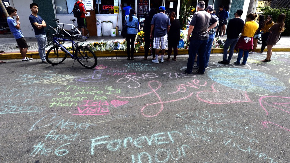 """Messages in chalk in Isla Vista, California, after a student murdered six people. He was praised by the """"incel"""" community."""