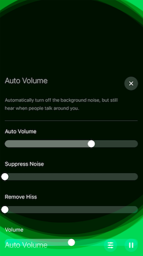 Auto Volume filter on Hear app.