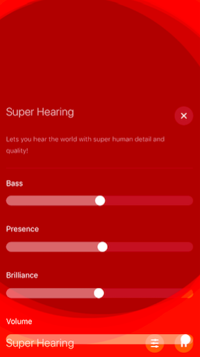 Super Hearing filter in Hear app.