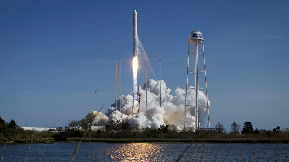 Wednesday's launch of the Antares rocket as seen from a safe distance.