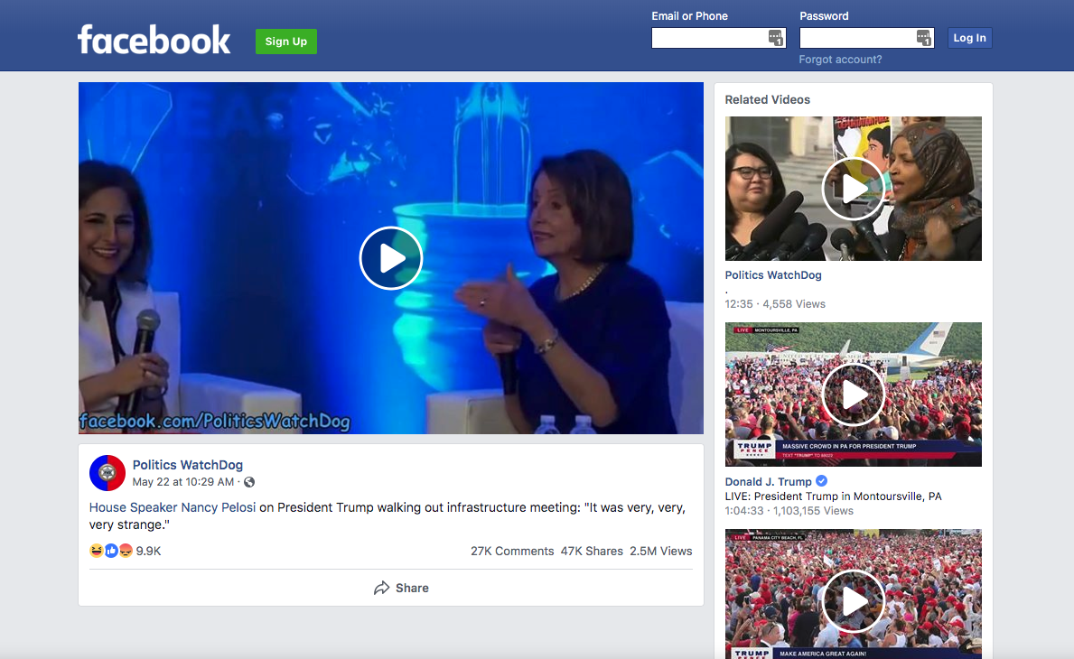 The 'Related Videos' don't show additional context; Facebook presents the fake video, here, without comment.