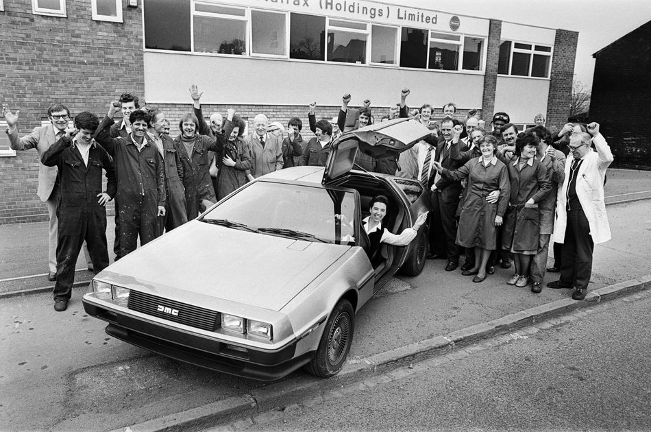 A photo from 1981 with the DeLorean DMC-12
