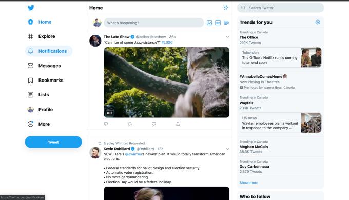 twitter desktop redesign test