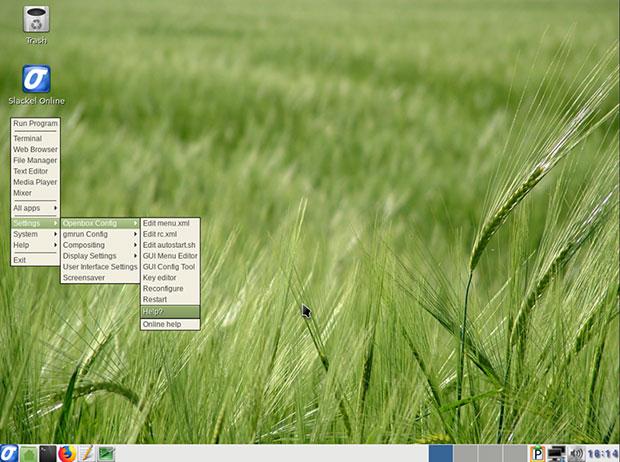 Slackel's Openbox cascading systems menu