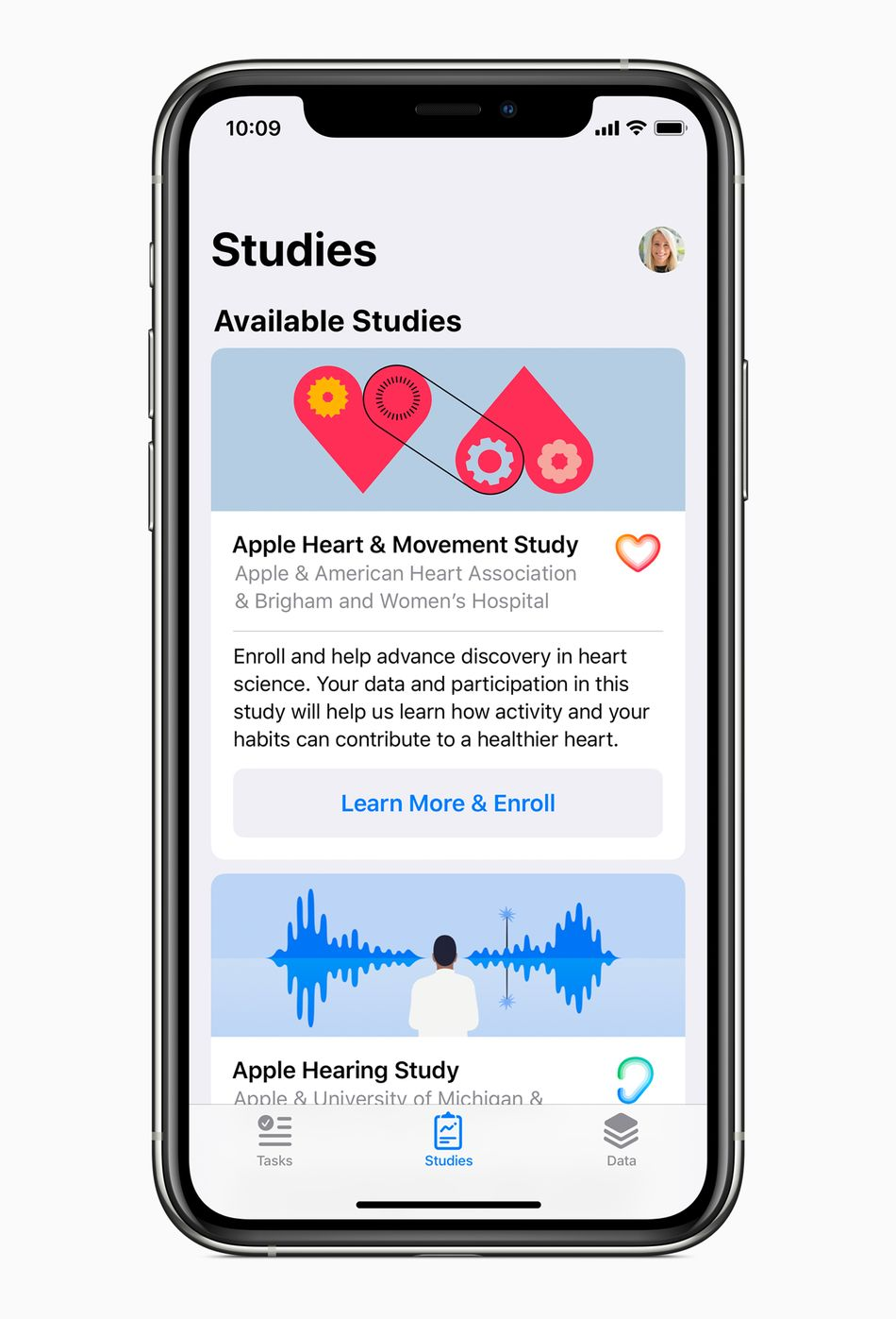 """You can download """"Research"""" in the app store to participate in Apple's studies."""