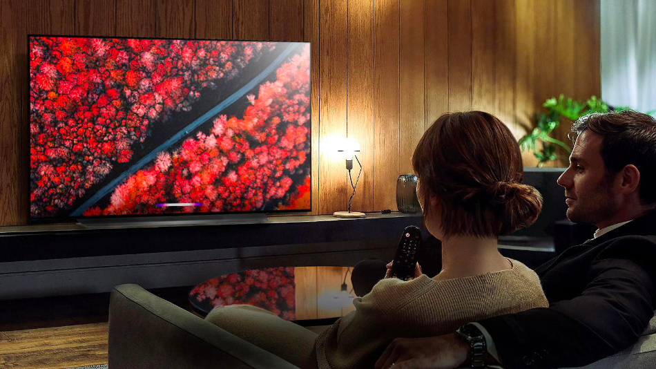 LG's sleek 65-inch C9 Series TV is less than two inches thick without its stand.