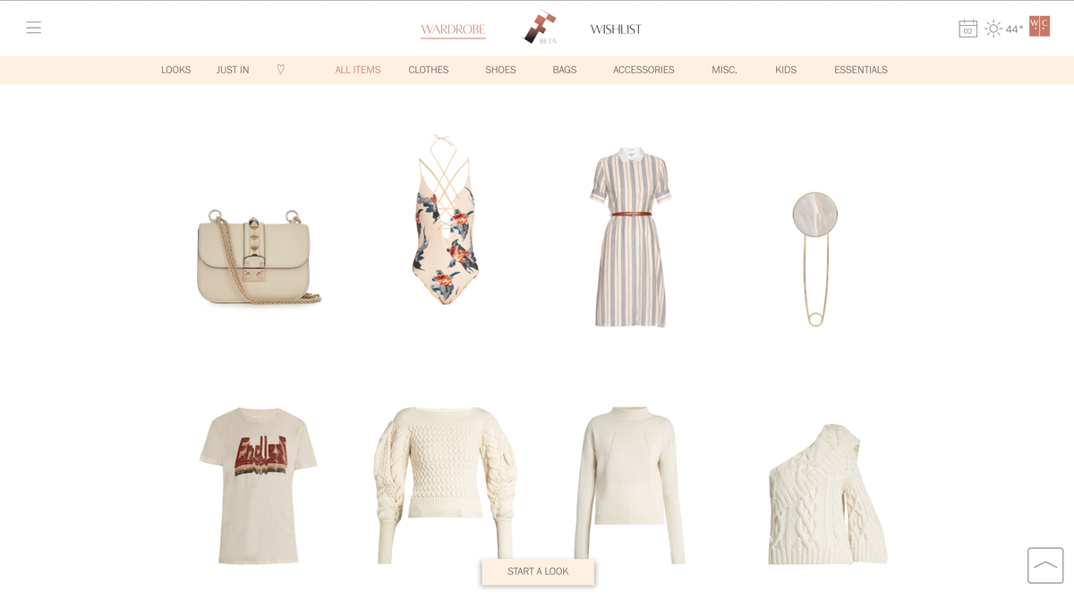 The first step in creating a look is checking out your digital closet.