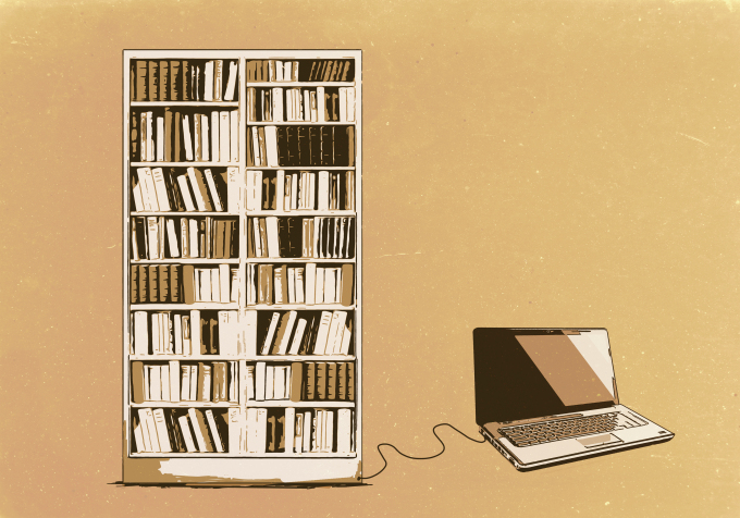 Illustration of laptop connected to bookshelf