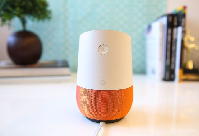 Google Home has a single mute/un-mute microphone button on the backside.