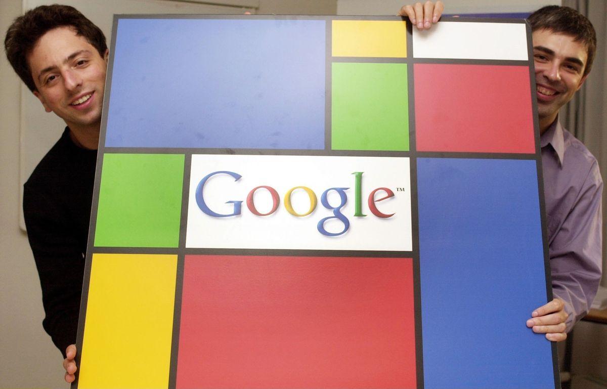 Brin, Sergey - Google-Gründer - mit seinem Partner Larry Page (r)