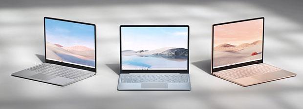 Surface Laptop Go colors: platinum, sandstone, ice blue