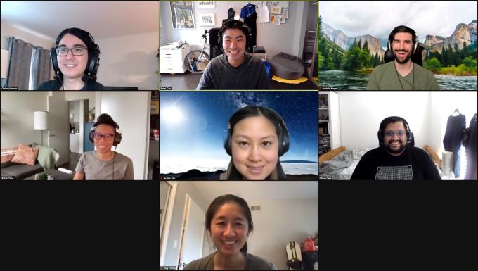 The 7 person Aquarium startup team.