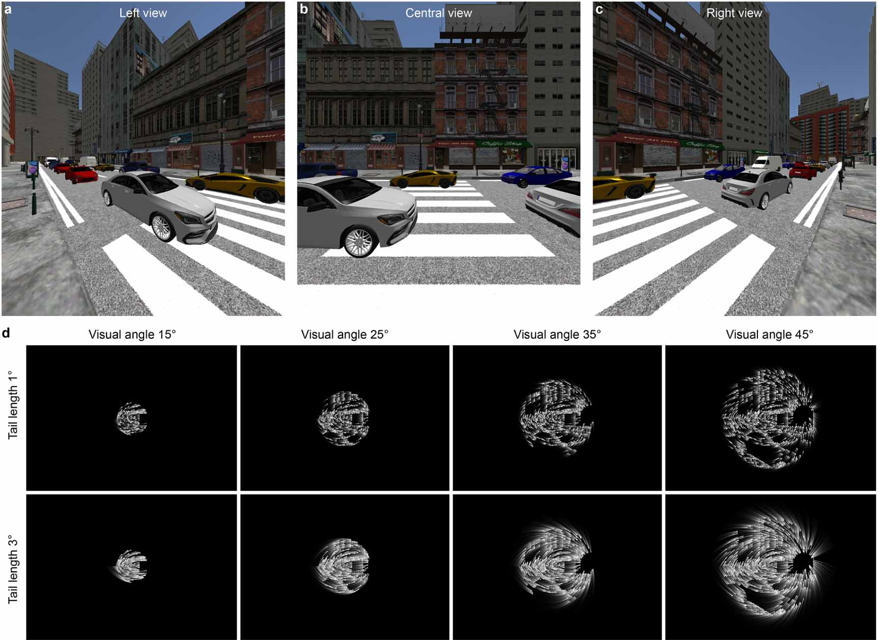A digitally rendered street scene and distorted monochrome versions below showing various ways of representing it via virtual phosphors.