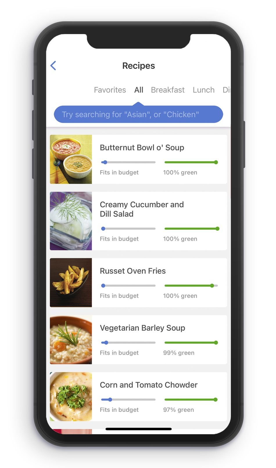 Searching for recipes on Noom