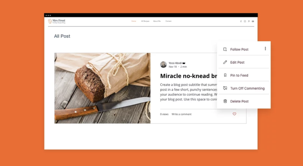You can manage your blog easily from your site when you integrate Wix Blog.