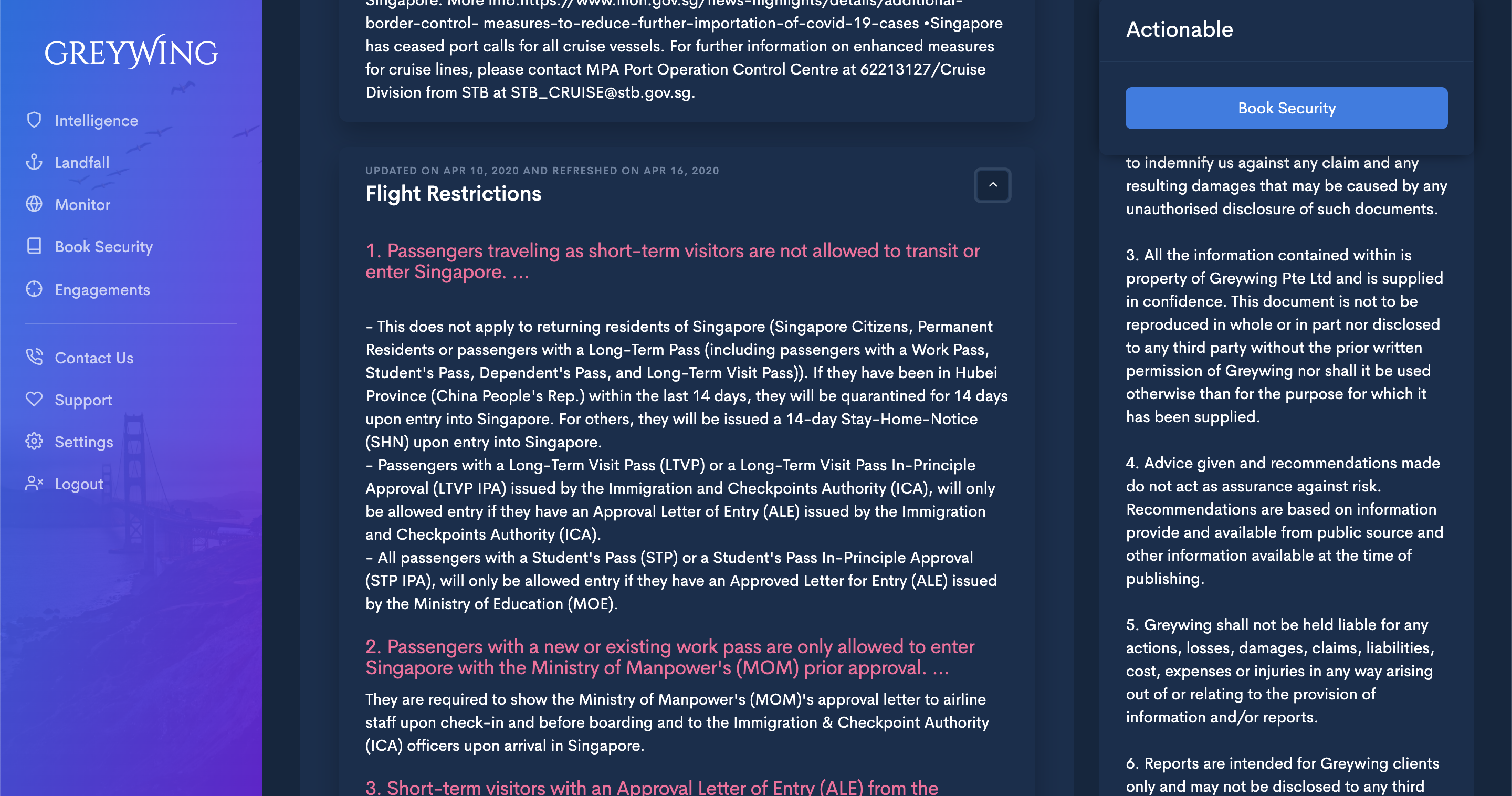 A Greywing report on flight restrictions