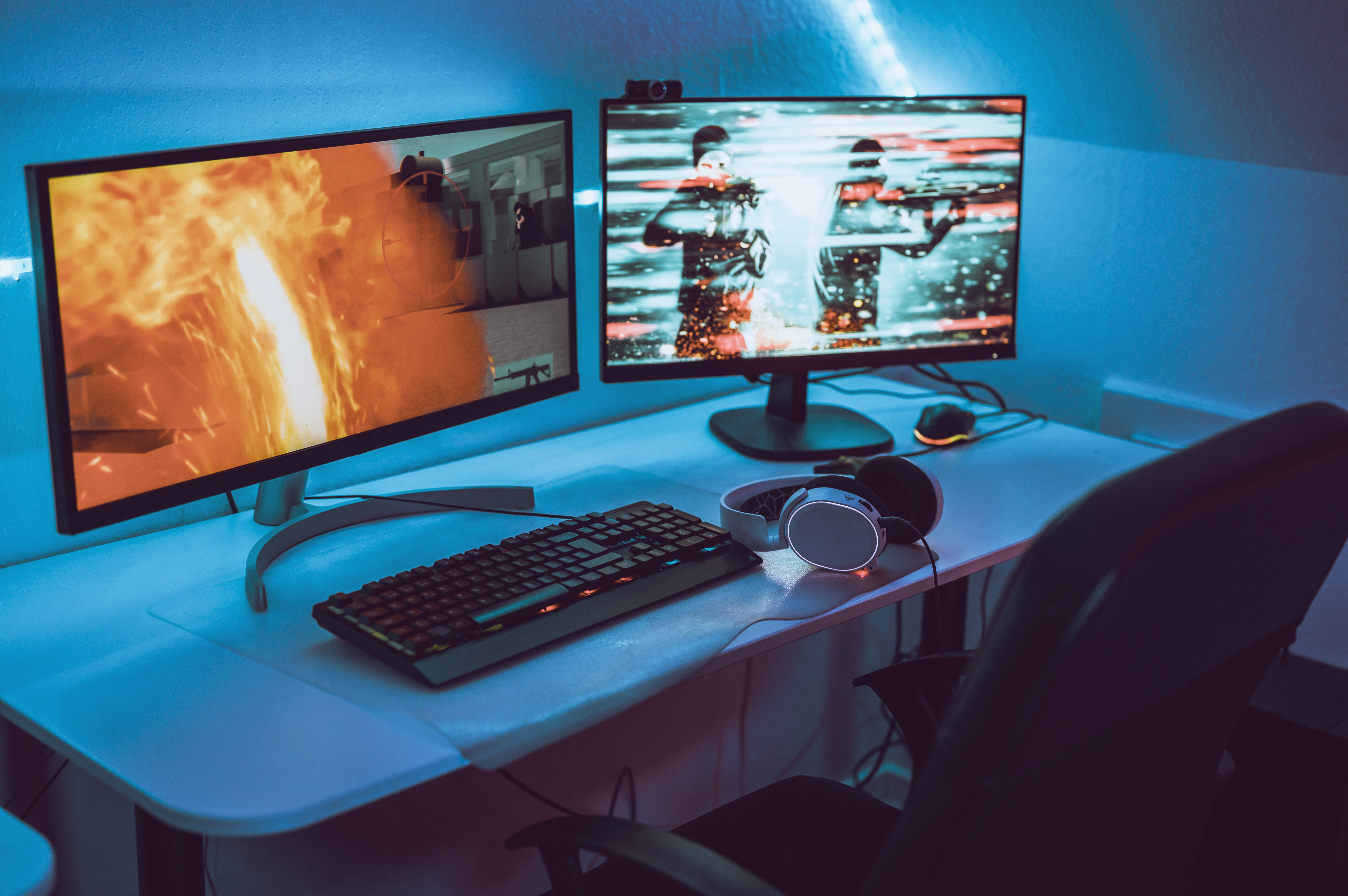 Image of a gaming computer setup with two monitors.